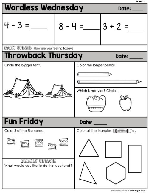 Math Morning Work 1st Grade {August} | Distance Learning | Google Slides