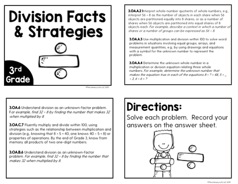 Division Facts and Strategies Task Cards (3rd Grade) Google Slides & Forms