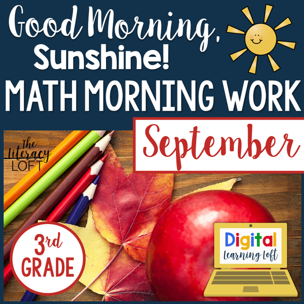 Math Morning Work 3rd Grade {September} | Distance Learning | Google Slides