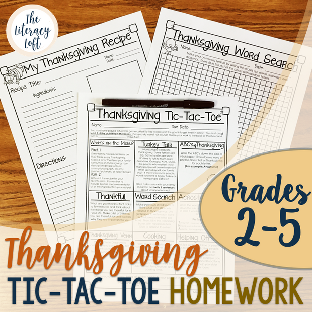 Thanksgiving Homework {Thanksgiving Tic-Tac-Toe}