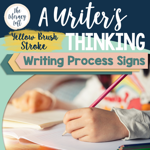 Writing Process Signs {Yellow Brush Stroke}