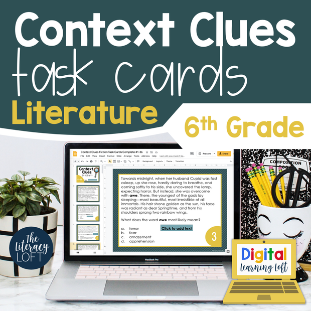 Context Clues Literature Task Cards 6th Grade | Distance Learning | Google Slides and Forms