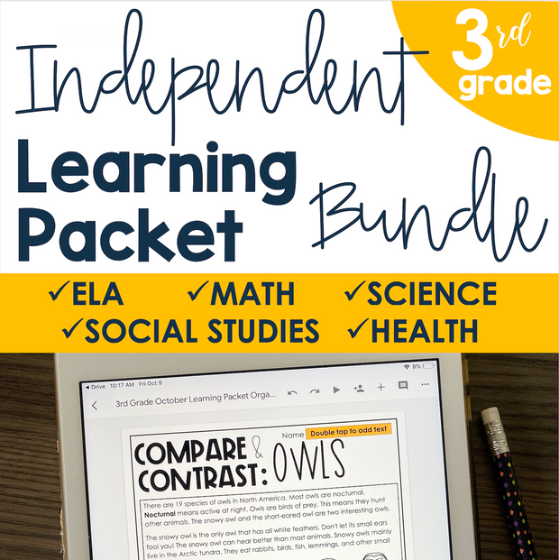 Independent Learning Packet 3rd Grade Bundle | Google Slides + Print