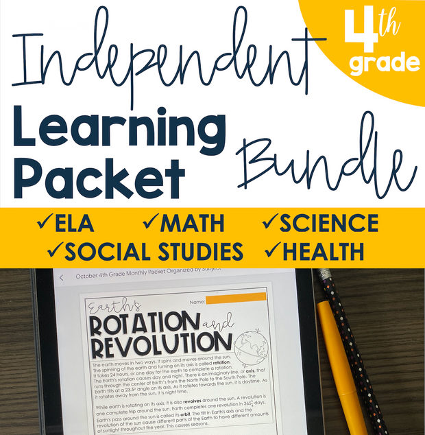 Independent Learning Packet 4th Grade Bundle | Google Slides + Print