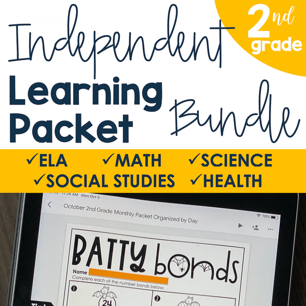Independent Learning Packet 2nd Grade Bundle | Google Slides + Print