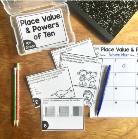Place Value and Powers of Ten Task Cards (5th Grade)