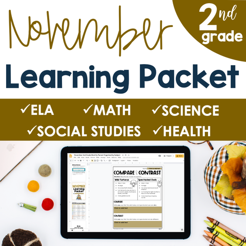 November Learning Packet 2nd Grade I Google Slides and Print