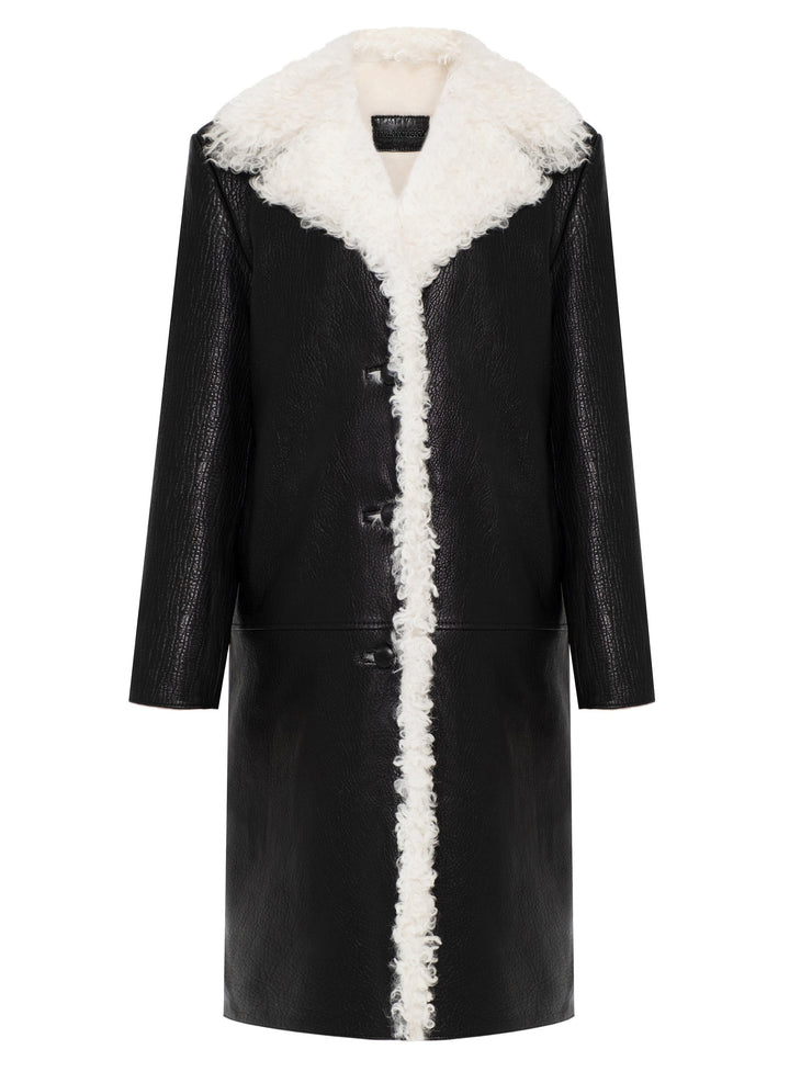 Shearling coat with tigrado fur