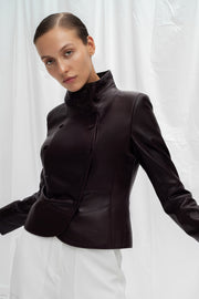 SALE – Double-breasted leather blazer