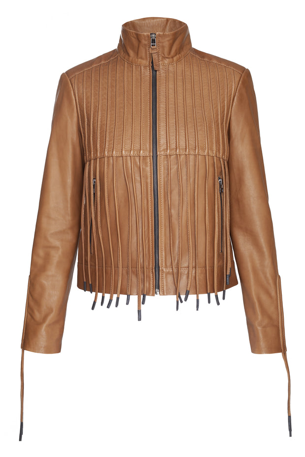 Leather bomber jacket with cords
