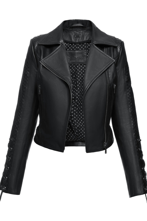 SALE – Cropped biker jacket with python