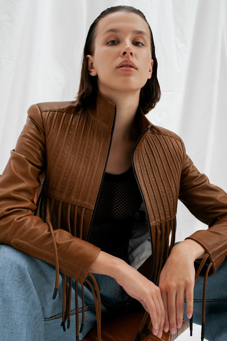 SALE – Leather bomber jacket with cords