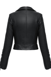 Cropped biker jacket with python