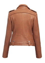 Classic peanut butter leather jacket