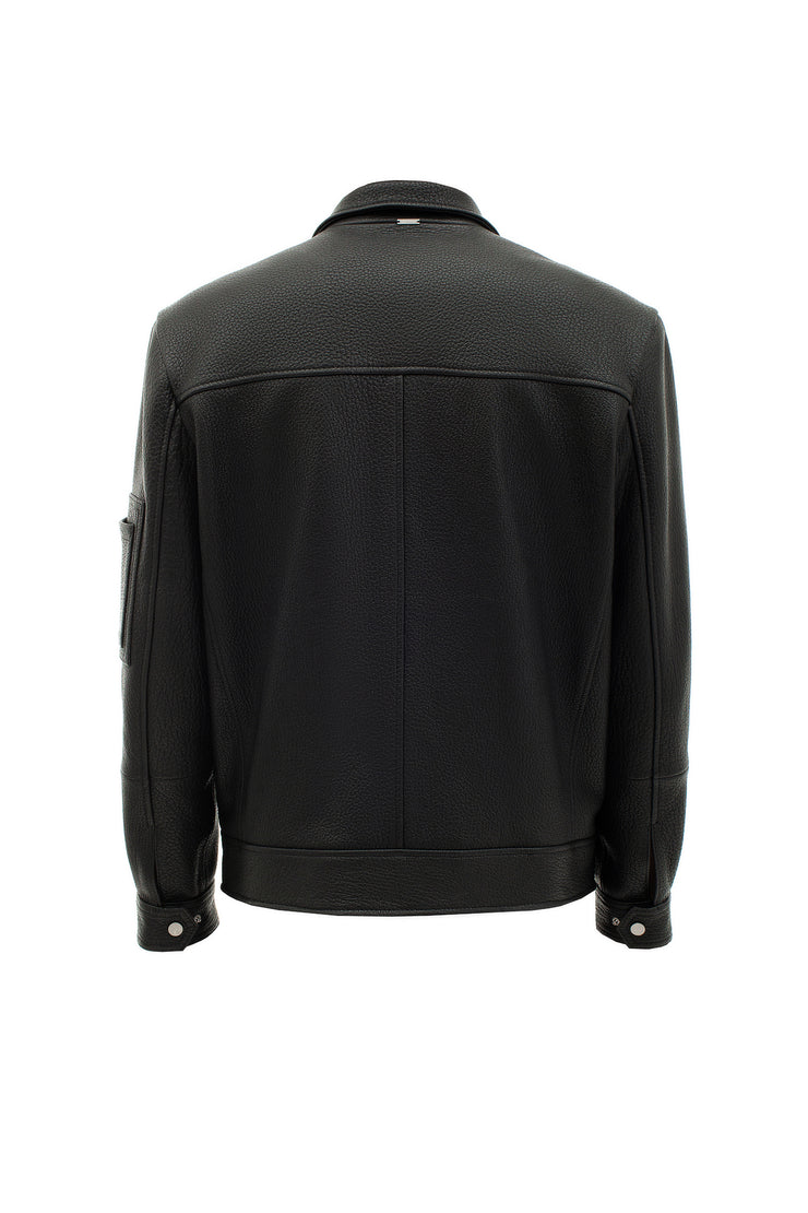 Leather jacket with a straight zipper