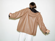 Reversible leather bomber jacket