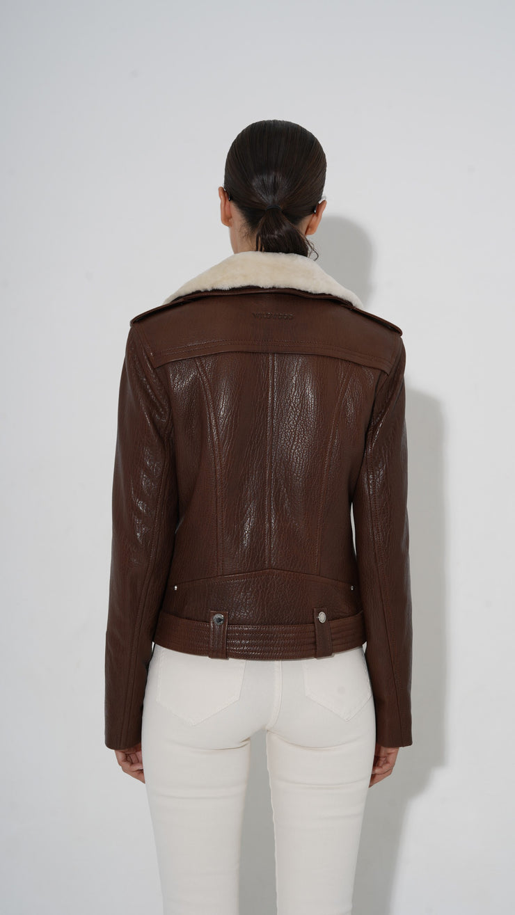 Classic biker jacket with collar