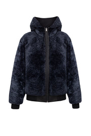 Reversible shearling bomber