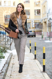 Shearling jacket with marten fur