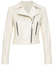 Perforated leather cropped jacket