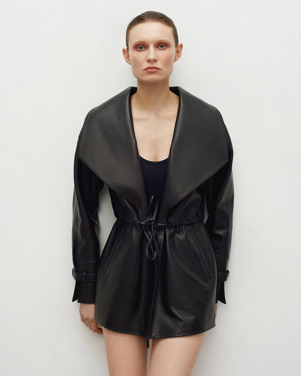 SALE – Drawstring leather jacket