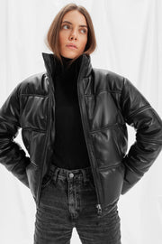 SALE – Leather puffer jacket