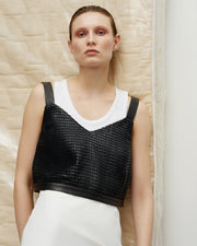 Woven leather top