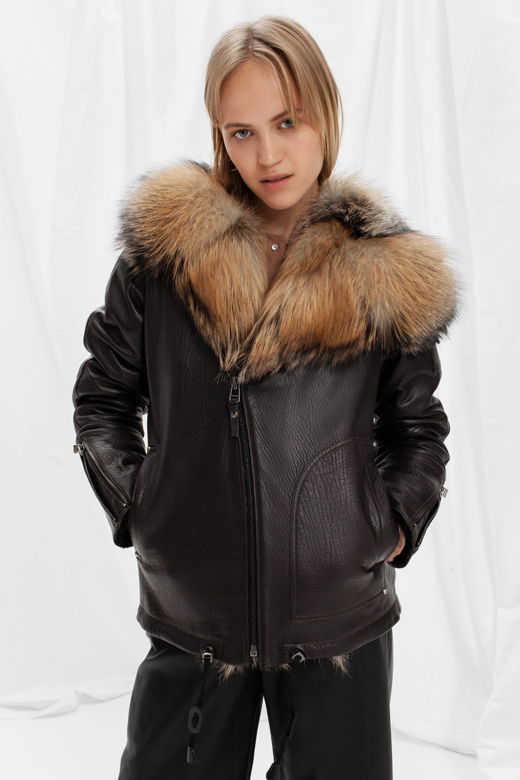 Shearling bomber jacket with golden silver fox fur