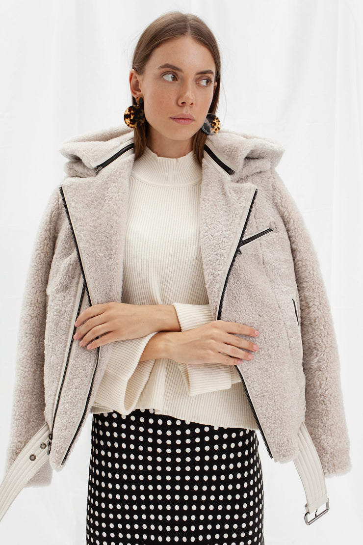 SALE – Reversible shearling leather jacket