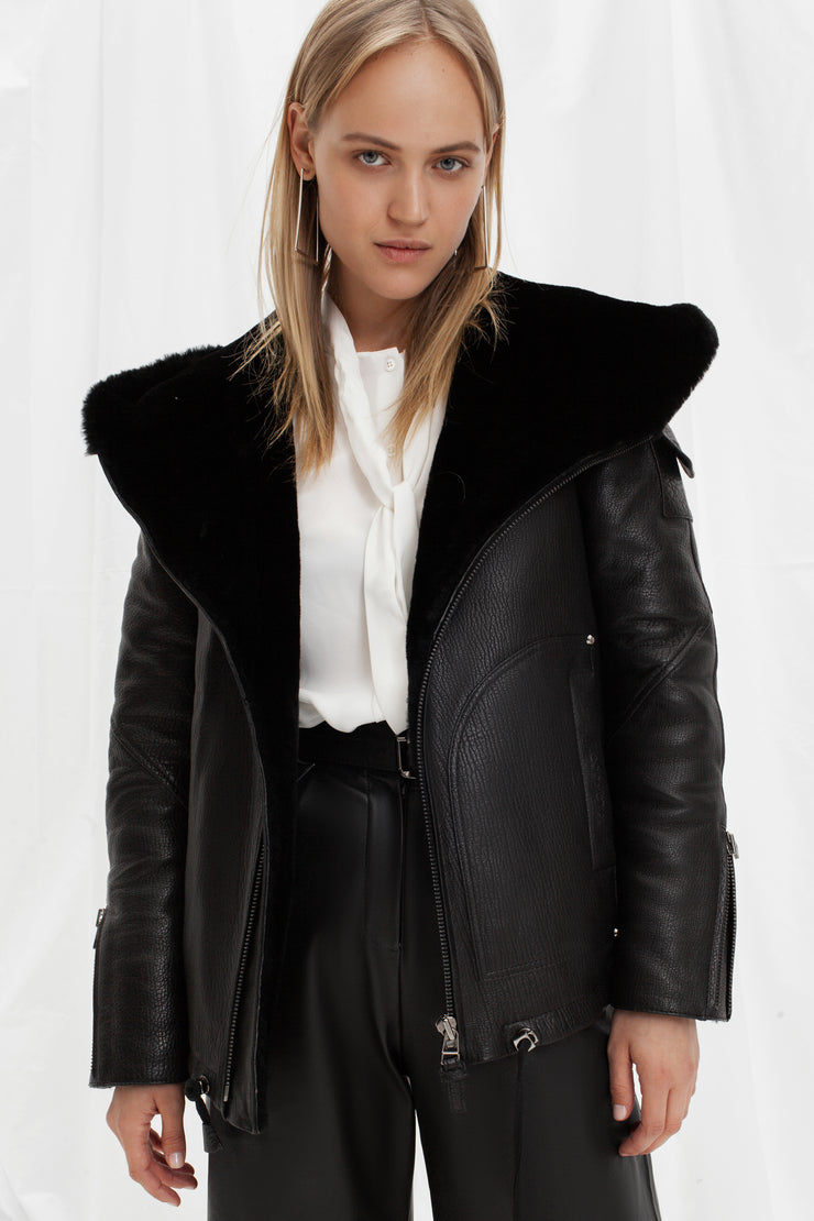 SALE – Shearling bomber jacket with hood