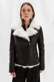 Fitted shearling jacket with white tigrado lamb fur