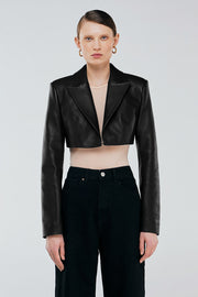 Cropped leather blazer