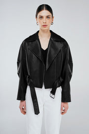 Thick leather biker jacket