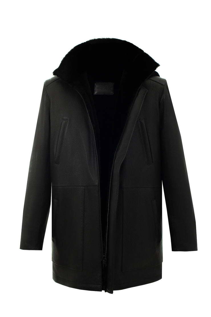 SALE – Elongated shearling jacket with hood