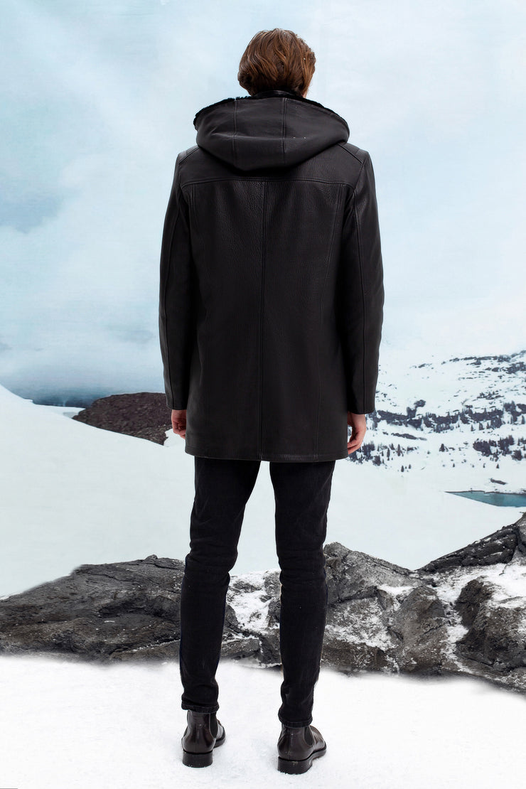 Elongated shearling jacket with hood