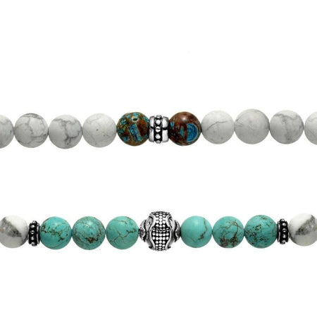 bracelet homme perles blanches et turquoise