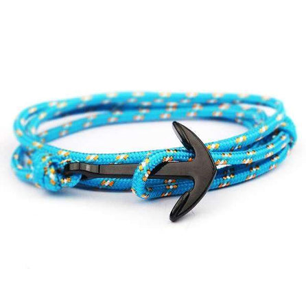 bracelet marin homme ancre turquoise