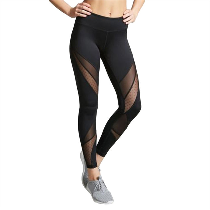 Women's Sexy Mesh Legging Pants Elastic Long Yoga Pants Sports Workout Tights Trousers