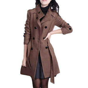 Women Fashion Loose Winter Warm Long Sleeve Button Button Jacket Coat With Belt