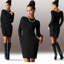 Load image into Gallery viewer, Women Solid Pockets Casual Loose Autumn Dress Women's O-Neck Long Sleeve Mini Bodycon Dresses Vestidos