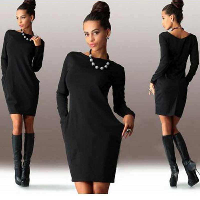 Women Solid Pockets Casual Loose Autumn Dress Women's O-Neck Long Sleeve Mini Bodycon Dresses Vestidos