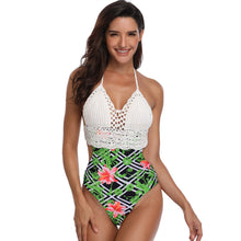 Load image into Gallery viewer, Women Sexy Lace-up Print Halter Knit Bikini Beach One Piece Swimwear Suit