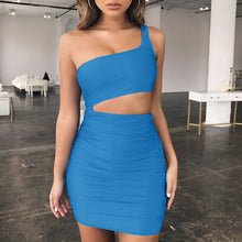 Load image into Gallery viewer, Sexy Women One Shoulder Dress Sleeveless Evening Party Bodycon Dress