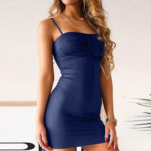 Load image into Gallery viewer, Women Sexy Sleeveless  Mini Solid Dresses Vintage Bodycon Party Dress