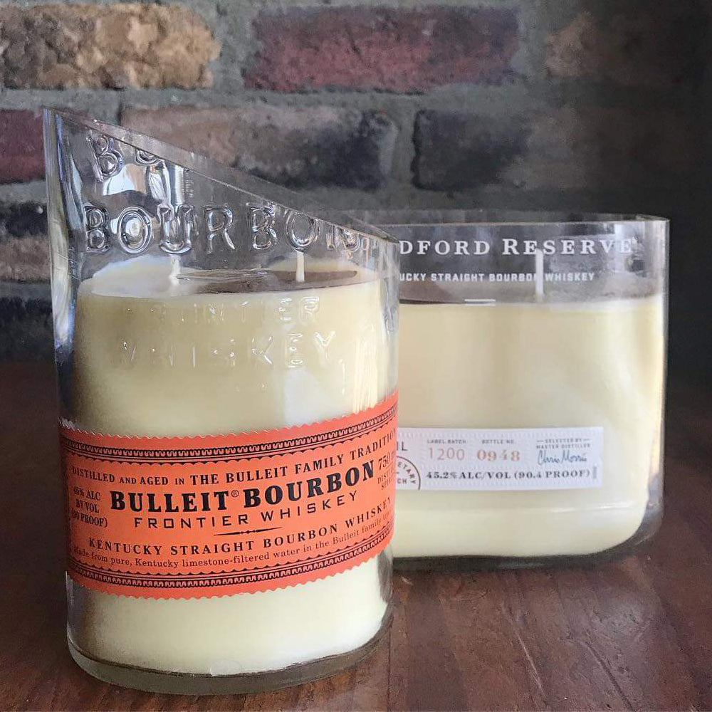 Bulleit Bourbon Recycled Bottle Candle / Various Scents