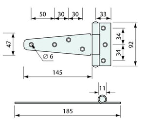 #52220 Strap Hinge  150mm  2.5mm Thick