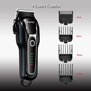 Kemei Rechargeable Hair Clipper with LCD Display Electric Cordless Pet Hair Trimmer Kit 110-240V