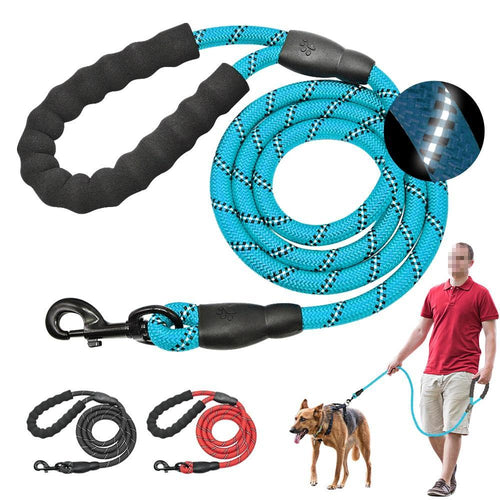 Reflective Large Dog Leash Nylon Rope Pet Running Tracking Leashes