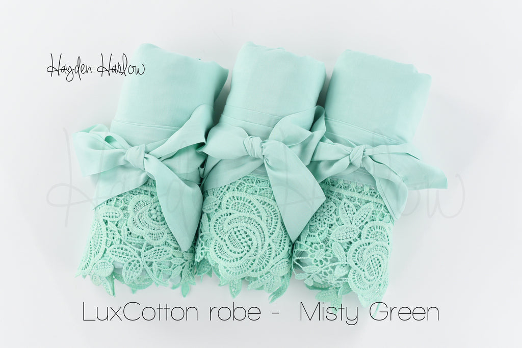 LuxCotton Robe- Misty Green Mint - Hayden Harlow