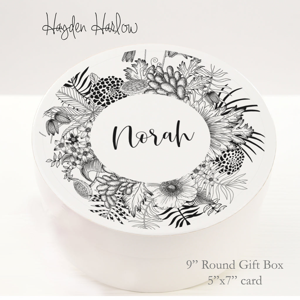 "9.5"" Round Gift Box - Customized  - BOTANICA - Hayden Harlow"